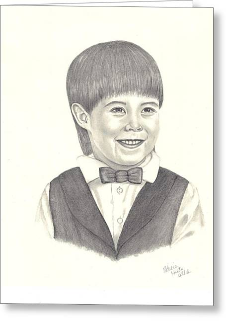 Greeting Card featuring the drawing A Young Boy by Patricia Hiltz