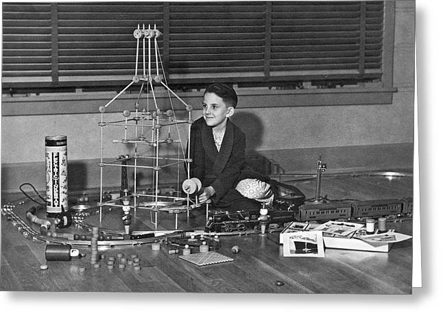 Boy With Tinker Toys Greeting Card by Underwood Archives