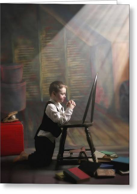 A Young Boy Praying With A Light Beam Greeting Card by Pete Stec