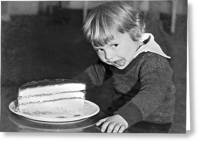 A Young Boy Ready For Cake Greeting Card