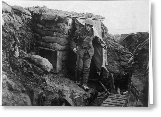A Young British Soldier  Emerges Greeting Card