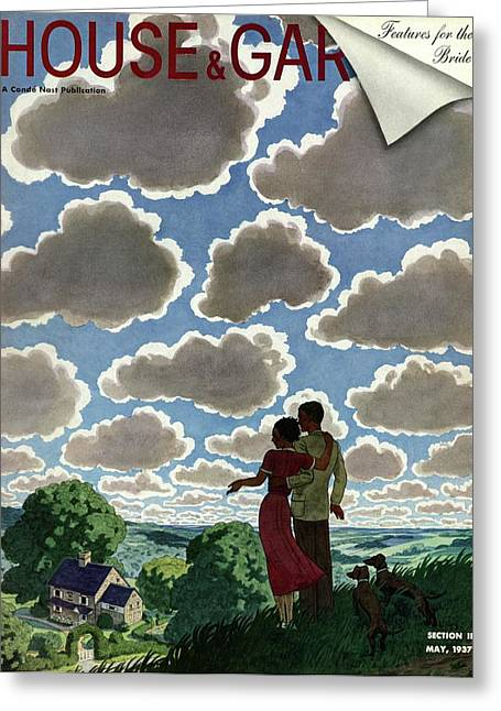 A Young Couple And Their Dogs On A Hilltop Greeting Card by Pierre Brissaud