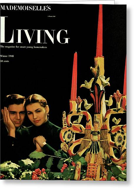 A Young Couple Next To A Candelabra Greeting Card by Herman Landshoff