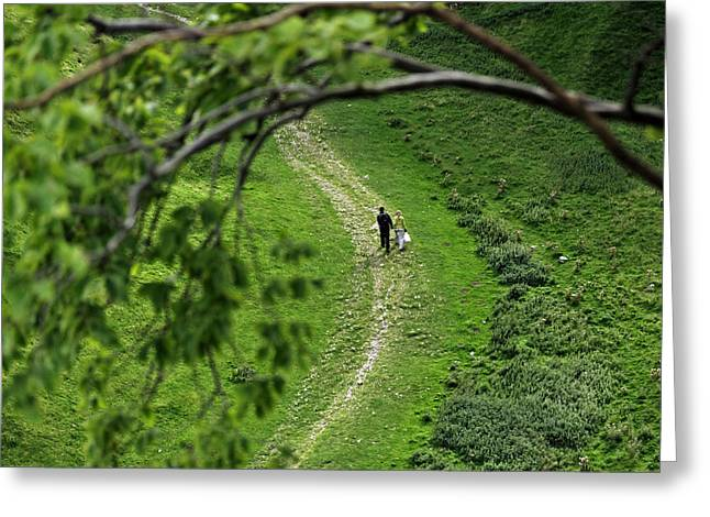 A Young Couple Walking In Cave Dale Greeting Card by Rod Johnson