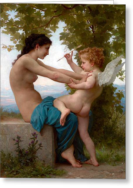 A Young Girl Defending Herself Against Eros  Greeting Card by Munir Alawi