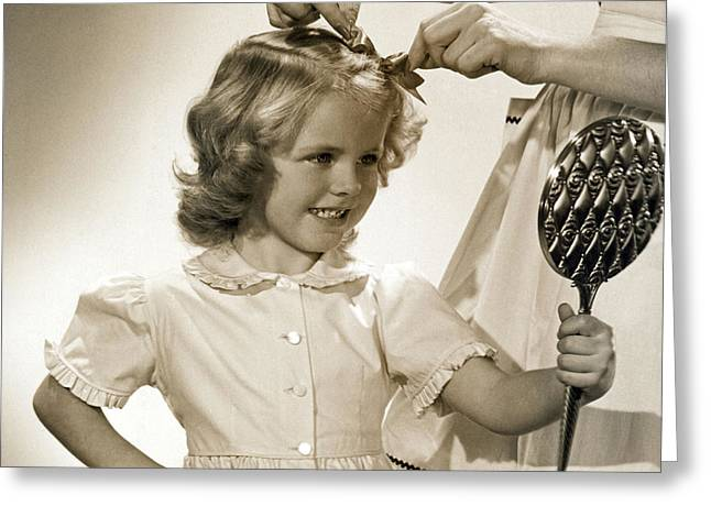 A Young Girl Gets A Bow Greeting Card by Underwood Archives