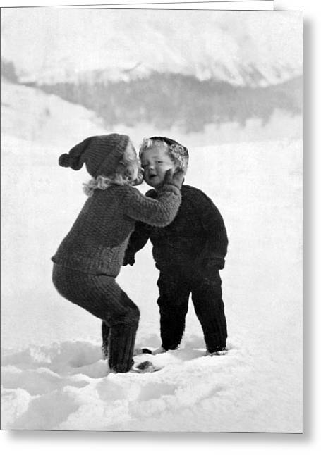 A Young Girl Gives Her Little Brother A Kiss On The Cheek In The Greeting Card