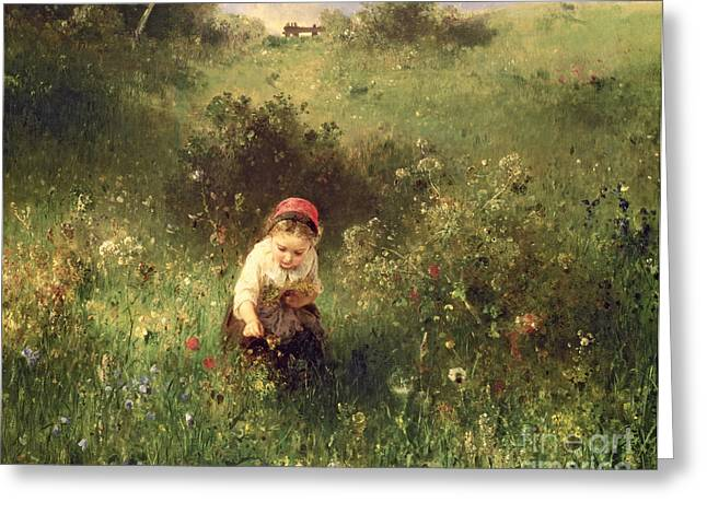 A Young Girl In A Field Greeting Card by Ludwig Knaus