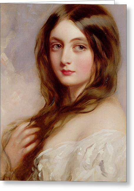 A Young Girl In A White Dress Greeting Card by Richard Buckner