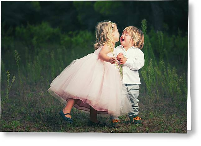 A Young Girl With A Pink Princess Dress Greeting Card by Ben Welsh