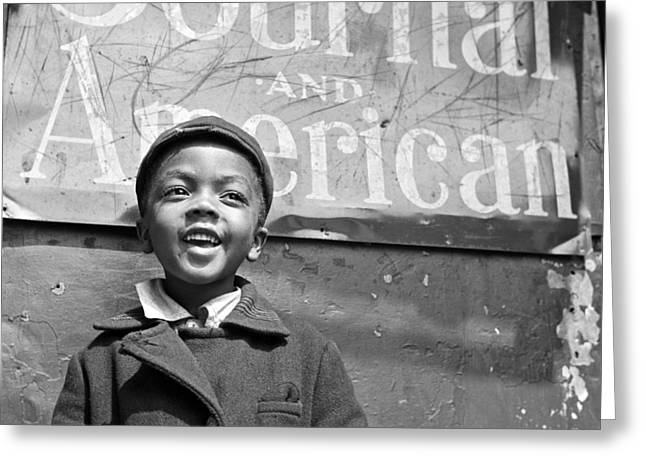 A Young Harlem Newsboy Greeting Card by Underwood Archives