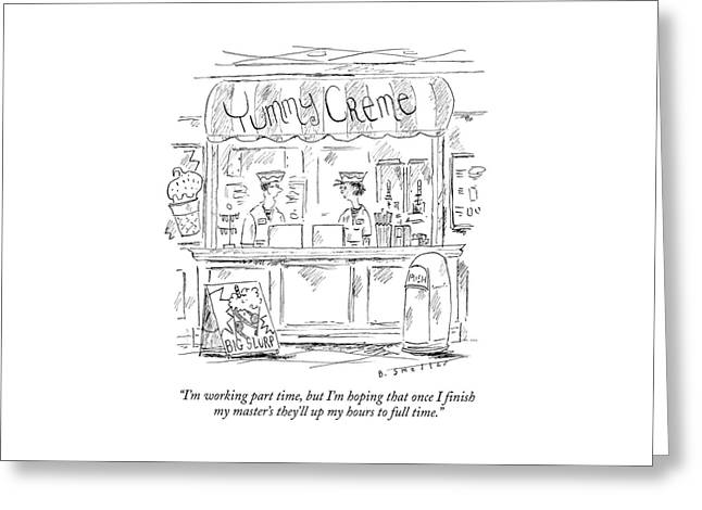 A Young Man And Woman Work Behind The Counter Greeting Card