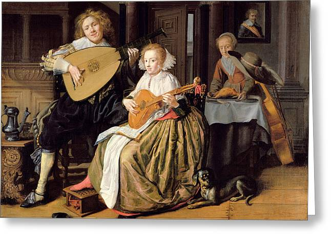 A Young Man Playing A Theorbo And A Young Woman Playing A Cittern, C.1630-32 Oil On Canvas Greeting Card by Jan Miense Molenaer