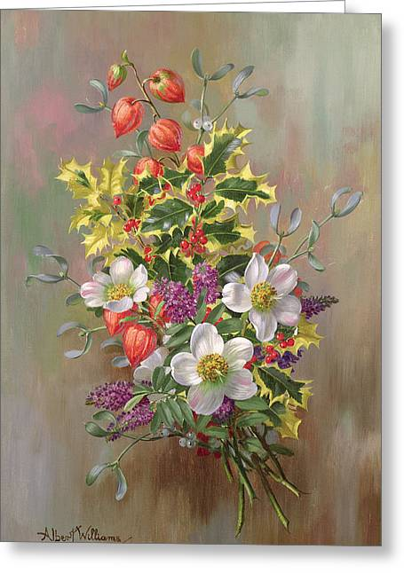 A Yuletide Posy Greeting Card by Albert Williams