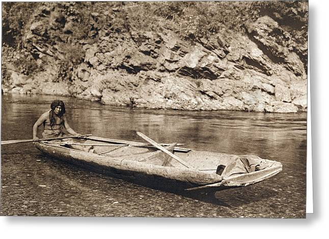 A Yurok In His Dugout Canoe Greeting Card