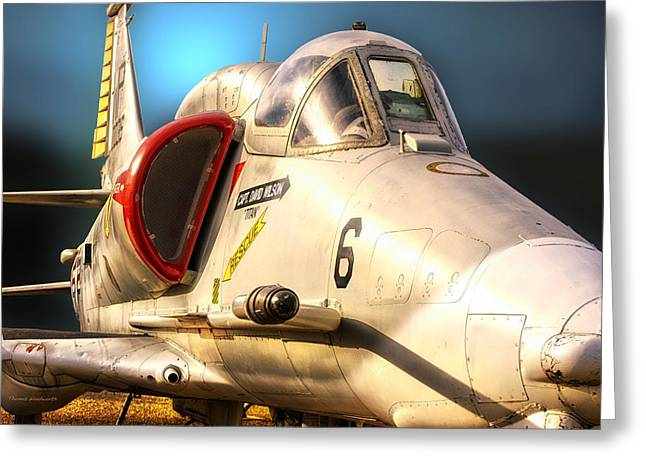 A4 Skyhawk Attack Jet Greeting Card by Thomas Woolworth