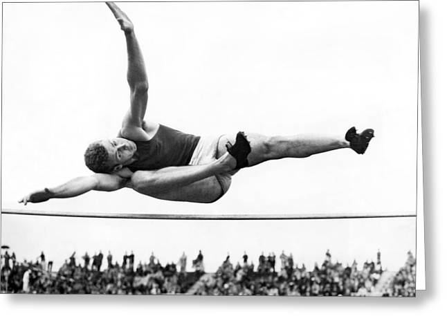 Aaaa Winning High Jump Greeting Card by Underwood Archives