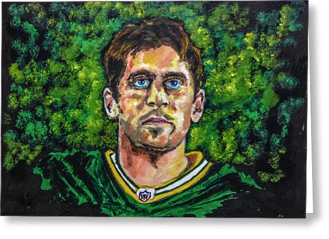 Greeting Card featuring the painting Aaron Rodgers by Joel Tesch