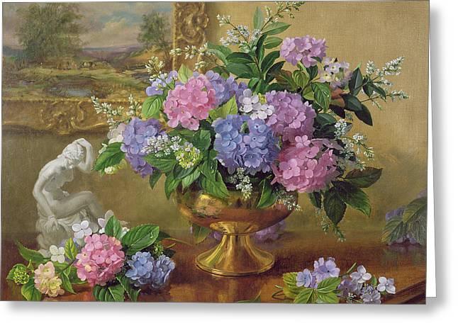 Ab211b Still Life Of Hydrangeas And Lilacs Greeting Card by Albert Williams