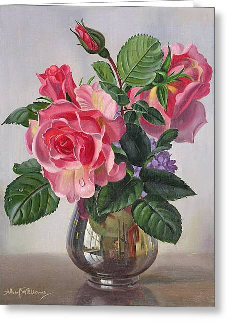 Lady Sylvia Roses In A Silver Vase Greeting Card by Albert Williams