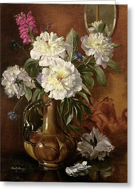 White Peonies In A Glazed Victorian Vase Greeting Card by Albert Williams