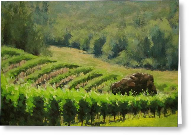 Abacela Vineyard Greeting Card by Karen Ilari