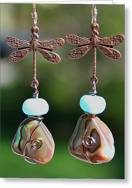 Abalone Dragonfly Earrings Greeting Card