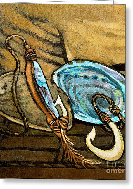 Abalone With Historic Maori Fishing Hooks Greeting Card by Patricia Howitt