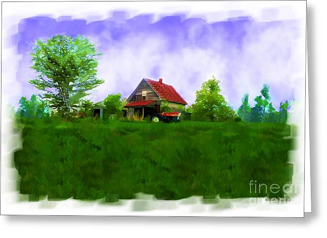 Abandond Farm House Digital Paint Greeting Card by Debbie Portwood