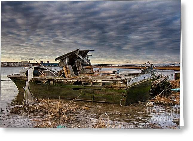 Abandoned Boat In The Meadowlands Greeting Card by Robert Wirth