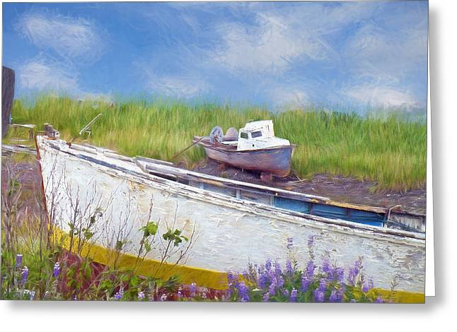 Abandoned Boats Greeting Card by Maria Dryfhout