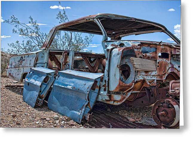 Abandoned Car In The Desert Greeting Card