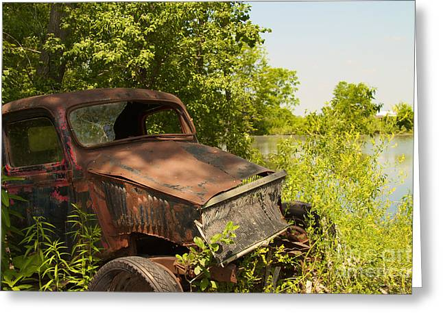 Abandoned Car Greeting Card by William Norton