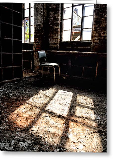 Abandoned Chair Sits In Sunlight By An Abandoned Window Greeting Card
