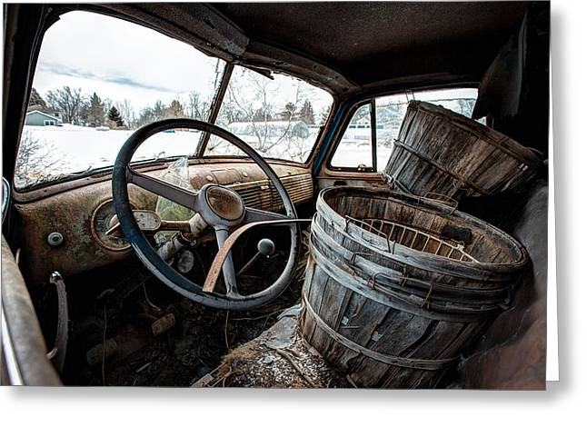 Greeting Card featuring the photograph Abandoned Chevrolet Truck - Inside Out by Gary Heller