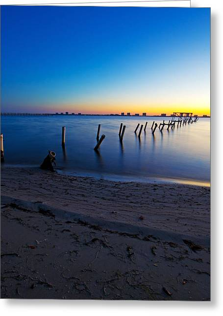 Abandoned Dock At Sunrise Greeting Card by Tracy Welker