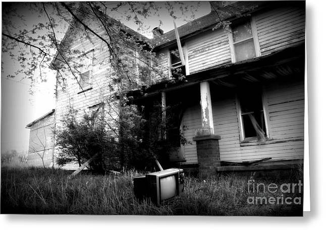 Abandoned Farm House Black And White Greeting Card by Catherine Sherman
