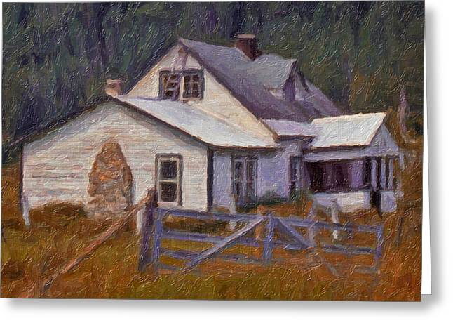 Greeting Card featuring the digital art Abandoned Farm House by Richard Farrington