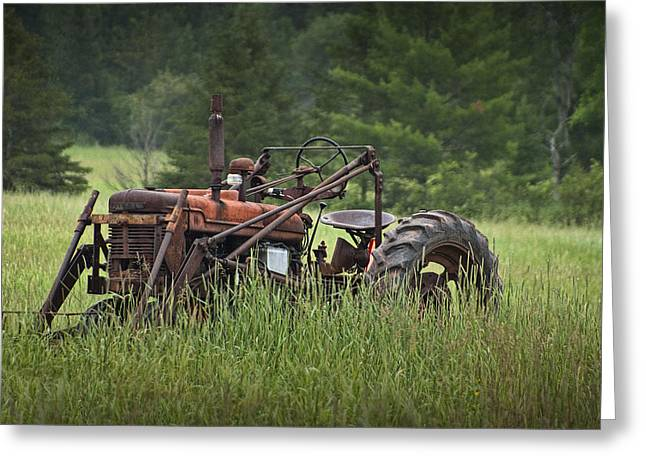 Abandoned Farm Tractor In The Grass Greeting Card by Randall Nyhof