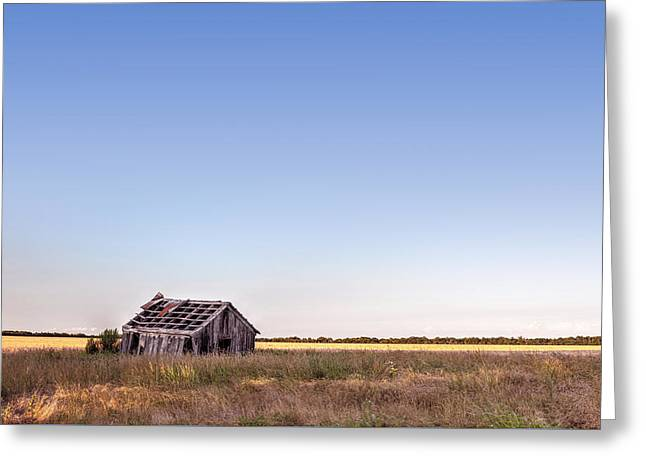Abandoned Farmhouse In A Field Greeting Card