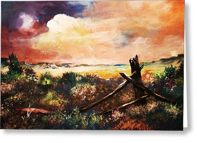 Greeting Card featuring the painting Abandoned Fence Post by Al Brown