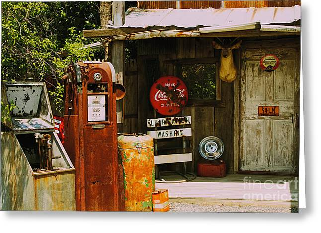Abandoned Gas Station Greeting Card by William Norton