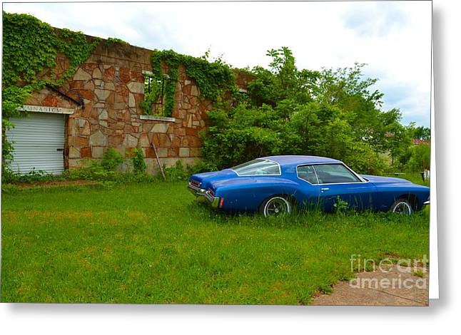 Greeting Card featuring the photograph Abandoned Gym And Car by Utopia Concepts