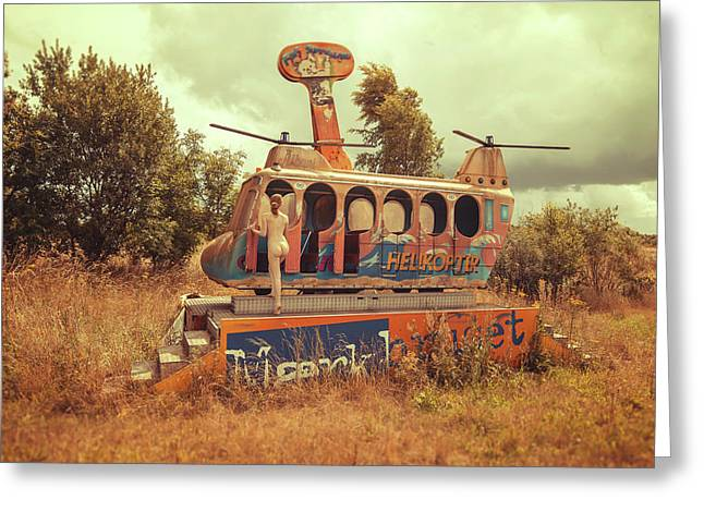 Abandoned Helicopter Greeting Card