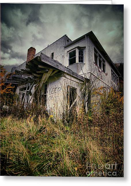 Abandoned Hotel Hdr Greeting Card by Amy Cicconi