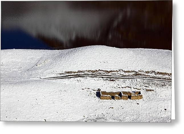 Abandoned House By The Lake In Winter Greeting Card by James Brunker