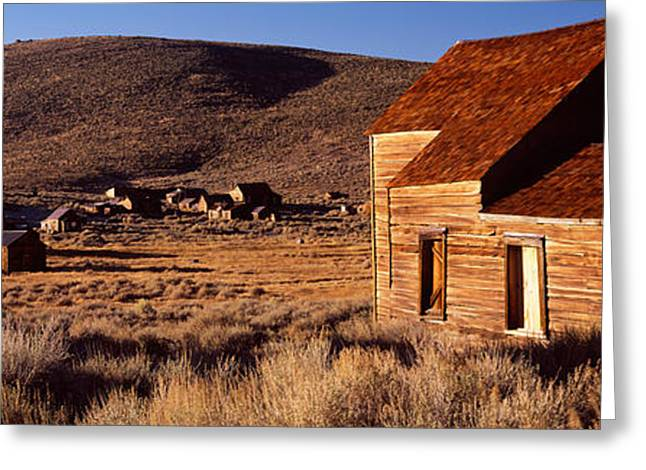 Abandoned Houses In A Village, Bodie Greeting Card by Panoramic Images