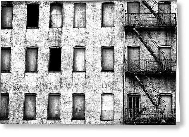 Abandoned In Asbury Park Bw Greeting Card by John Rizzuto