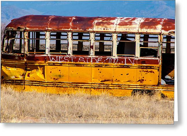Abandoned Metro Bus - Rural Utah Greeting Card by Gary Whitton