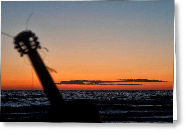 Acoustic Guitar On The Beach Greeting Card